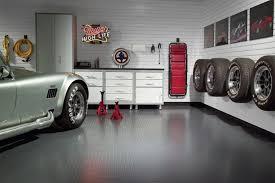 Garage Interior Wall Ideas White Cabinet With Grey Floor For Modern Garage Interior Design