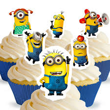 minions cake toppers 24 minions cupcake toppers co uk kitchen home
