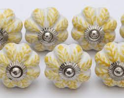 Porcelain Knobs For Kitchen Cabinets Leaf Drawer Pulls Etsy