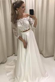 lace 3 4 sleeve wedding dress two the shoulder lace satin wedding dress prom