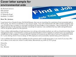 Environmental Services Resume Sample by Environmental Aide Cover Letter