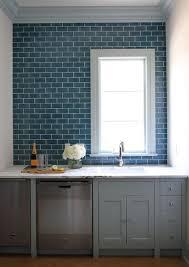 Blue Subway Tile With Gray Cabinets Carrara White Granite - Blue subway tile backsplash
