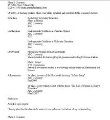 student teaching resume free teacher resume template education