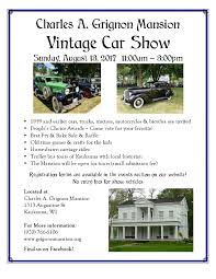 charles a grignon mansion vintage car show wisconsin rod radio