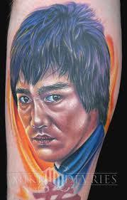 mike devries tattoos portrait bruce lee tattoo