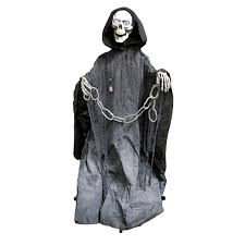 Animated Halloween Skeleton by Halloween Haunters Animated Standing Life Size Skeleton Death
