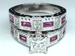 black and pink wedding ring sets engagement ring princess diamond vintage engraved bridal set