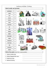 vocabulary matching worksheet buildings worksheet free esl
