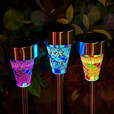 solar powered patio lights amazon outdoor solar garden lights 3 pack mosaic solar solar powered