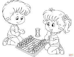 boy and playing chess coloring page free printable coloring