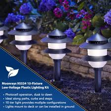 landscape lighting photocell moonrays solar path lights in tiered design low voltage 10