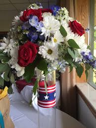 Red Flag White Flower Hurray For Patriotic Weddings Ray Hunter Wedding Flowers