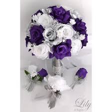 purple bouquets purple silver white bouquets corsages boutonnieres