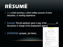 work resume synonyms resume experience synonym resume