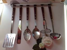 set of vintage retro prestige teak handle kitchen utensils with