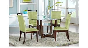 rooms to go dining sets ciara espresso 5 pc dining set with green chairs round