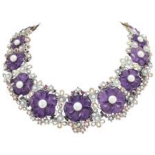 amethyst jewelry necklace images Amethyst diamond pearl choker gold necklace for sale at 1stdibs jpg