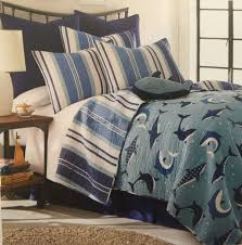 Fish Themed Comforters Sammy Brand Blue Sharks Twin Quilt 2pc Set Aquatic Ocean Themed