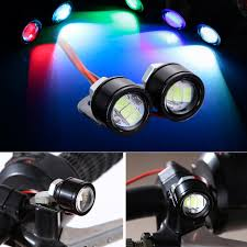 strobe lights for car headlights 2pcs 3w eagle eye projector headlight round led motorcycle drl led