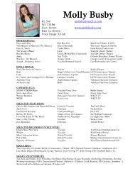Sample Audition Resume by Musical Theatre Resume Template Acting With Picture Sample Theatre