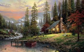 painting forest pier boat cottage trees stones