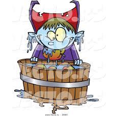 vector of a cartoon halloween vampire kid bobbing for apples by