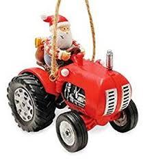 farmer santa tractor ornament