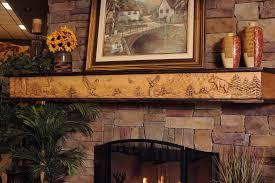 living room concrete stone chimney maple mantel shelf corbels