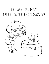 dora putting candle cake coloring u0026 coloring pages