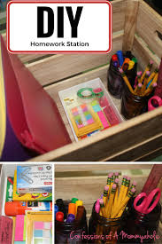 homework station with a free printable to keep schoolwork organized