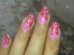 pink nails with red glitter flower nail art
