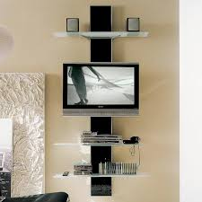 media center for wall mounted tv glass wall mounted open media shelves and flat screen tv decofurnish
