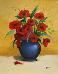 The Blue Vase Vase Painting Poppies In Blue Vase Painting Jimmie Bartlett