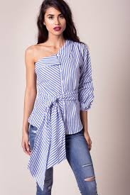 one shoulder blouse s blouses colby striped one shoulder blouse a gaci