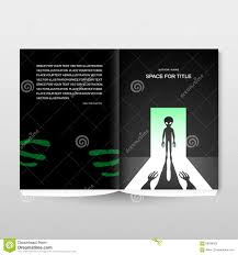 alien with shadow in the open door brochure cover template stock