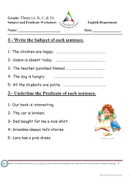 Worksheets On Subjects And Predicates Subject And Predicate Worksheet Free Esl Printable Worksheets