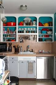 Open Kitchen Cabinets With Aqua White Lime Green And Silver - Kitchen cabinet without doors