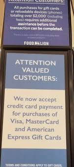 reloadable credit card food lion now accepts credit card for prepaid gift card purchases