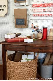Organize Gift Wrap - holiday gift wrap station