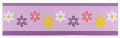 Daisies Purple Wallpaper Border For Girls Room Or Nursery - Wall borders for kids rooms