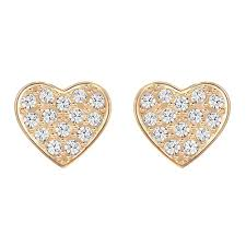 earrings uk swarovski cupid gold clear heart stud earrings