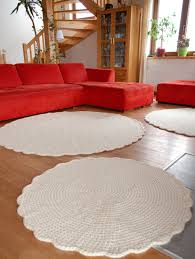 Cream Round Rug Large Area Rug Crochet Wool Round Rug Wool Carpet Crochet Rug