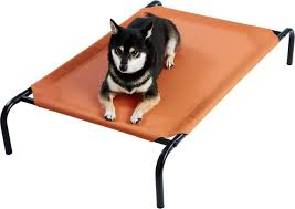 frisco steel framed elevated pet bed terracotta medium chewy com