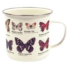 ecologie butterflies enamel mug camping cup gift species steel red