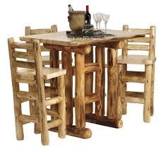 aspen log pub table mountain woods log furniture rustic bar