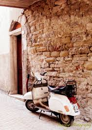 vespa in italy photograph print italian village motorcycle
