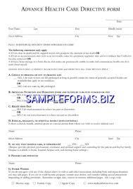 advance directive form templates u0026 samples