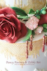 tall white red rose gold asian indian elegant floral wedding cake