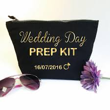 bridal makeup bag wedding day prep kit custom makeup bag with date bridal cosmetic