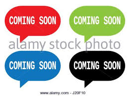 coming soon text on rectangle st sign in color set stock photo